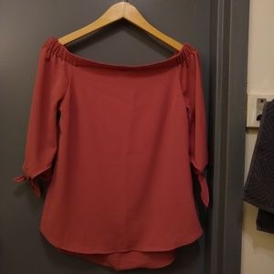 Dusty Rose Off the Shoulder Top